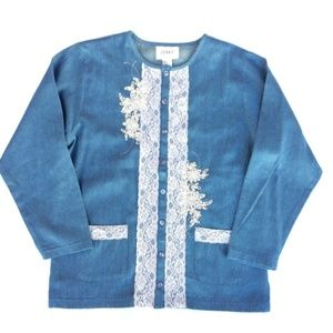 Vintage | Chambray Oversized Lace jean Jacket MED
